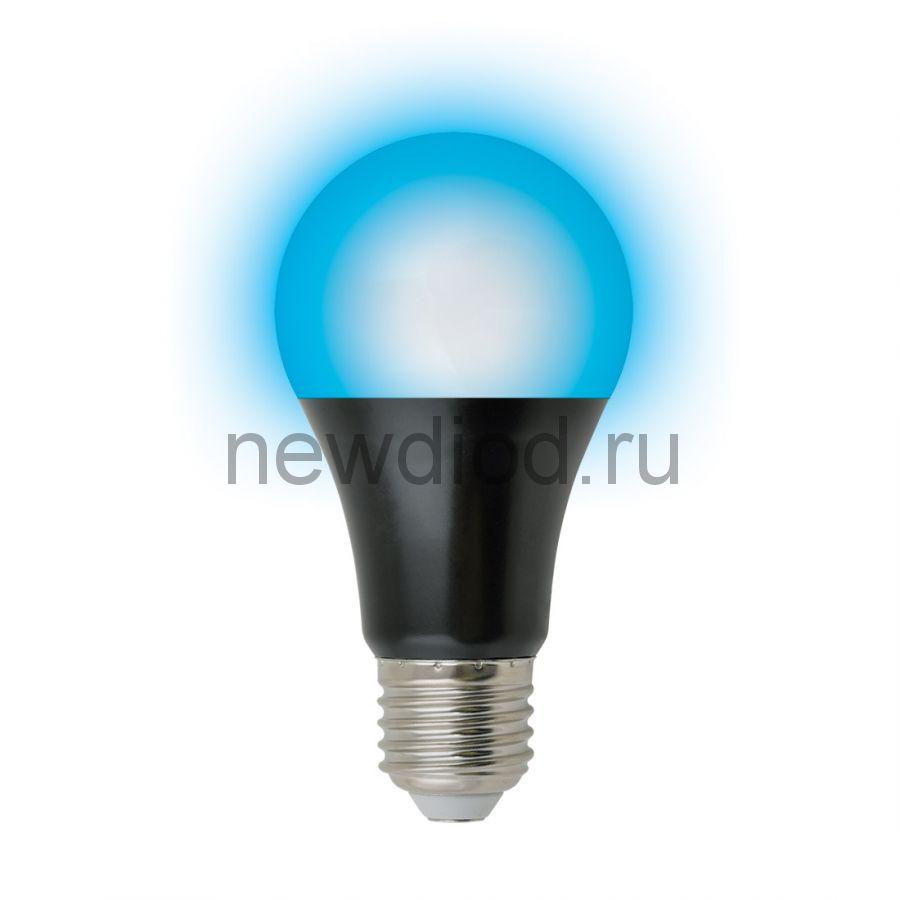 Лампа светодиодная LED-A60-9W/UVAD/E27/FR PLZ07BK ультраф для дискотек cпектр UVA 410нм ТМ Uniel