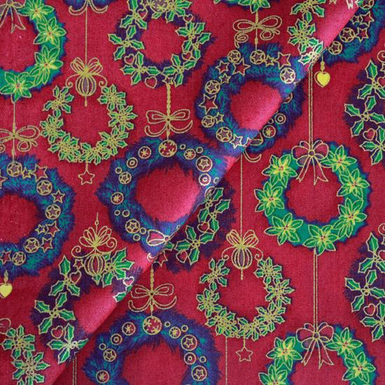 Ткань Хлопок Веночки с глиттером на красном 50x40