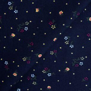 Микровельвет цветочки на глубоком синем 50*36 см.