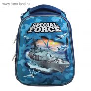 Рюкзак каркасный Hatber Ergonomic 37 х 29 х 17 см, для мальчика, Special Force, серый/голубой
