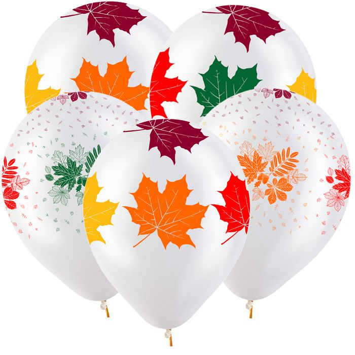 Фонтан из 10 гелиевых шаров  листья 1 сентября