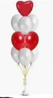 Набор из 10 шаров с красным сердцем
