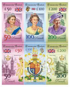 God Save the Queen Elizabeth II— набор 50,100,200 фунтов Великобритания. Памятные банкноты. UNC