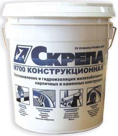 Смесь Ремонтная Скрепа М700 Конструкционная 25кг для Ремонта и Гидроизоляции Железобетонных, Кирпичных и Каменных Конструкций