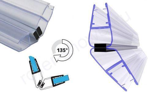 Угол 135 град. Уплотнитель для душевых кабин магнитный для стекла(4,5,6,8,10мм)