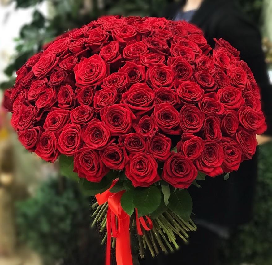101 красная роза 50 см.