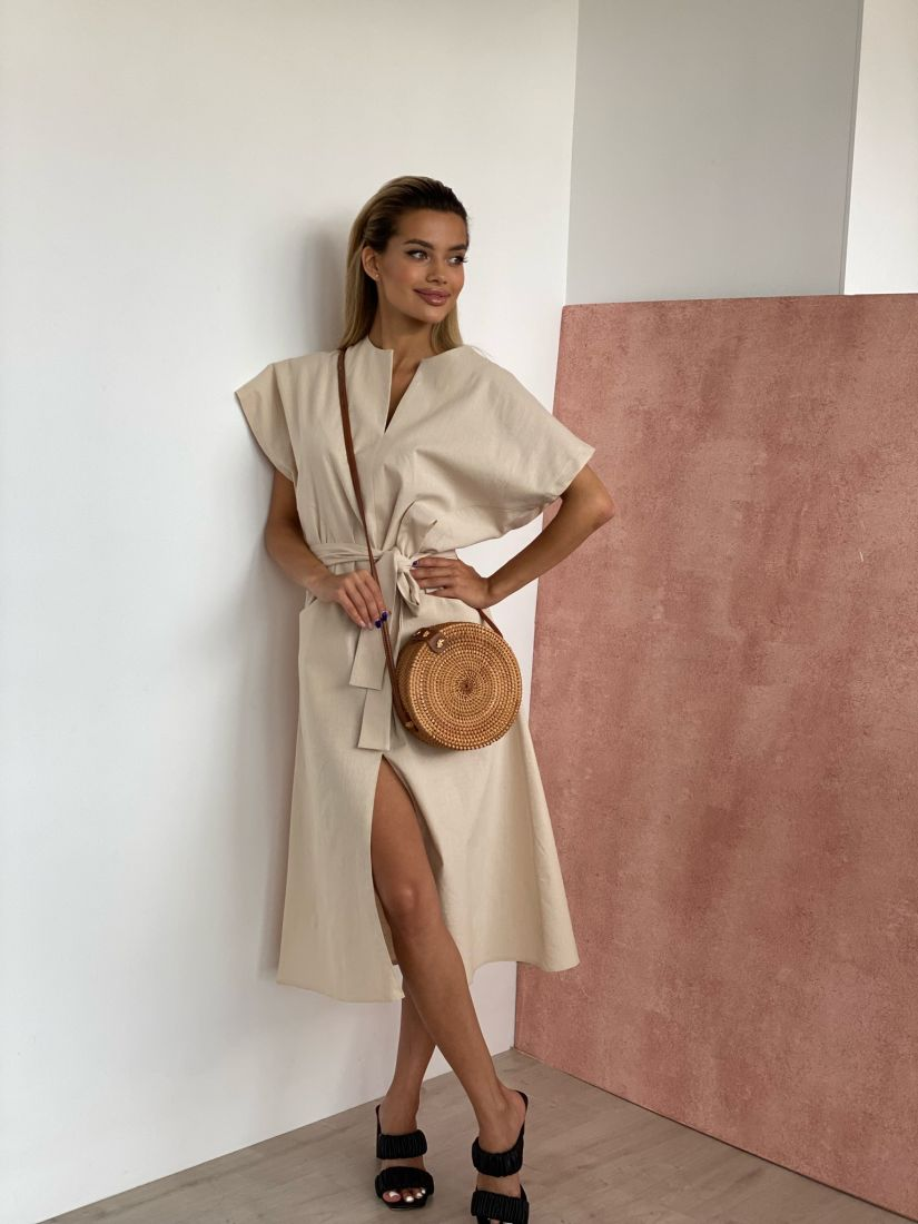 4448 Платье льняное натурального оттенка
