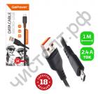 Кабель USB - микро USB GoPower GP01M 1.0м 2.4A ПВХ черный