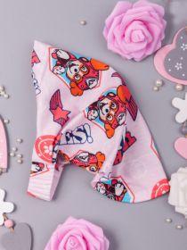 00-0017741 Косынка трикотажная для девочки на резинке, собачки, светло-розовый