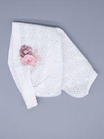 00-0027055 Косынка для девочки на резинке, цветочки, бусинки, бант, розовый и пудровый цветок, молочный