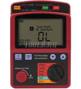 ТЕТРОН-М30 Мегаомметр цифровой 2500 Вольт 100 ГОм