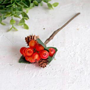 Веточка засахаренных ягод с шишками, 12 см.