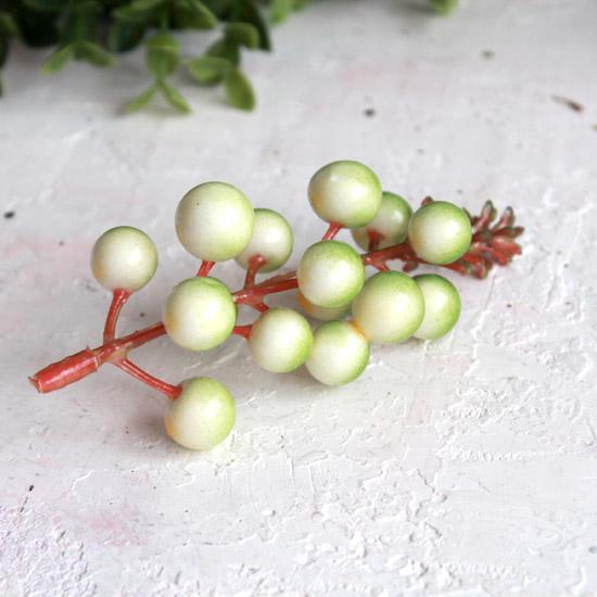 Ягоды на веточке, зелено-белый, 11 см.
