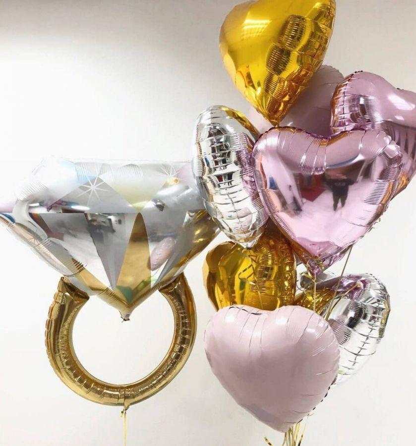 Сет из 8 фольгированных сердец и кольца