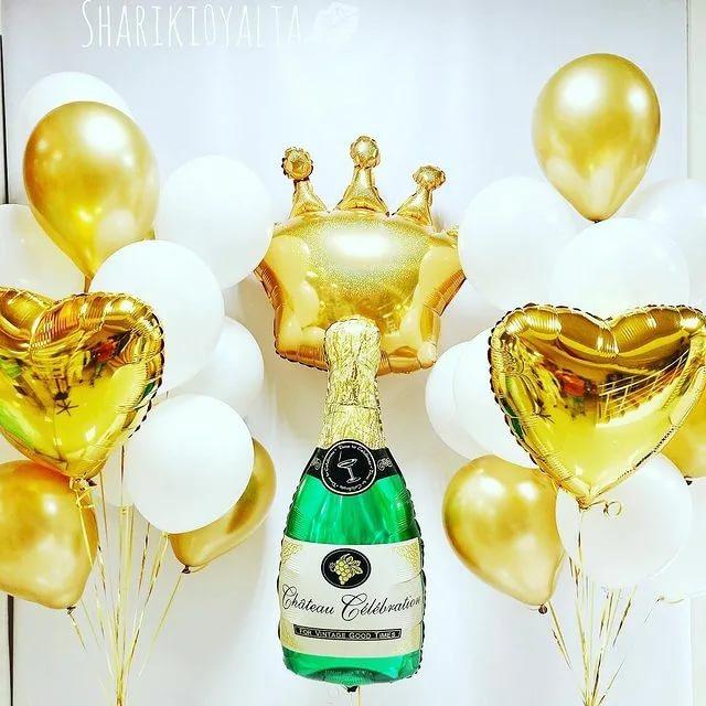 Шары Корона и шампанское, золото и белый