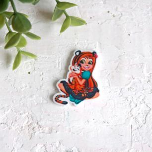 """Кукольная миниатюра -  Кабошон-вырубка """"Девочка и тигренок"""" 35*26 мм"""