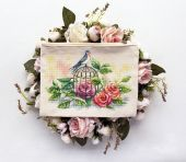 """""""Swallow and Roses"""". Digital cross stitch pattern."""