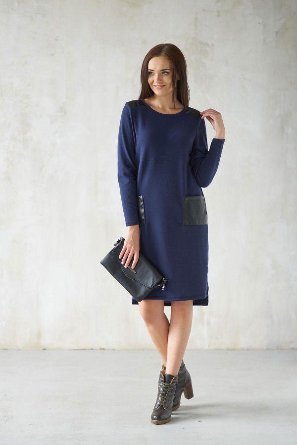 Платье 171-34 синее, ангора