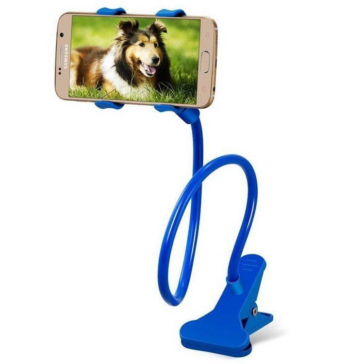 Гибкий держатель-прищепка для телефонов и мини планшетов, Голубой