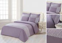 Комплект постельного белья  Сатин  с цветным кружевом  1.5-спальный  Арт.SZV-010-1