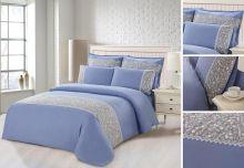 Комплект постельного белья  Сатин  с цветным кружевом  евро  Арт.SZV-012-3