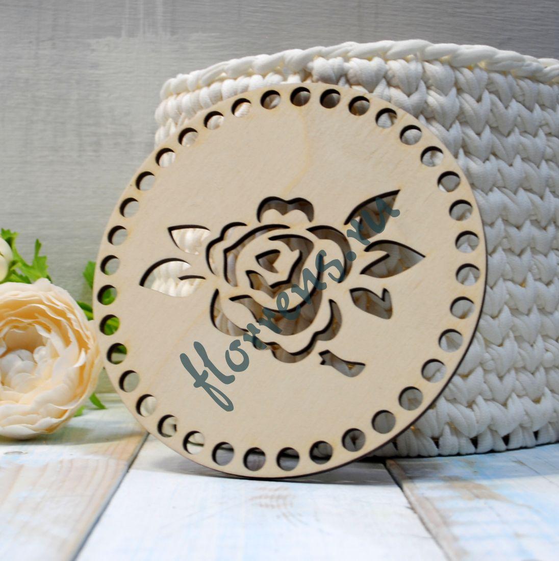 Крышка из фанеры / 15 см, роза
