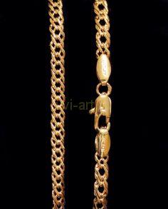 Позолоченный браслет или цепочка двойной ромб, 4 мм (арт. 250186)