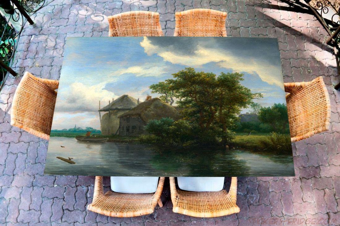 Наклейка на стол - Коттедж и стог сена