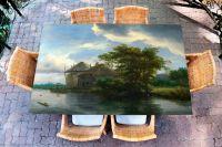 Наклейка на стол - Коттедж и стог сена | Купить фотопечать на стол в магазине Интерьерные наклейки