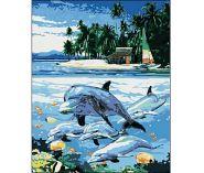 """Холст с красками """"Дельфины у острова"""" 40х50 см по номерам (арт. DW270)"""