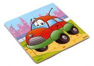 """Пазл-рамка деревянная для малышей """"Машинка"""" 9 эл. (15х15 см) (арт. ИД-9963)"""