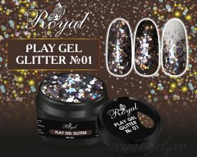 01 Gel PLAY GLITTER  Royal 5мл.