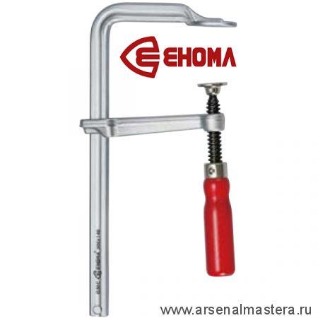 Струбцина кованая винтовая F-образная 400x100 деревянная рукоятка дуб, усилие 450 кг EHOMA G40C10