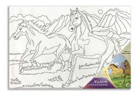"""Холст на картоне """"Дикие лошади"""" 20х30 см (арт. Х-9695)"""