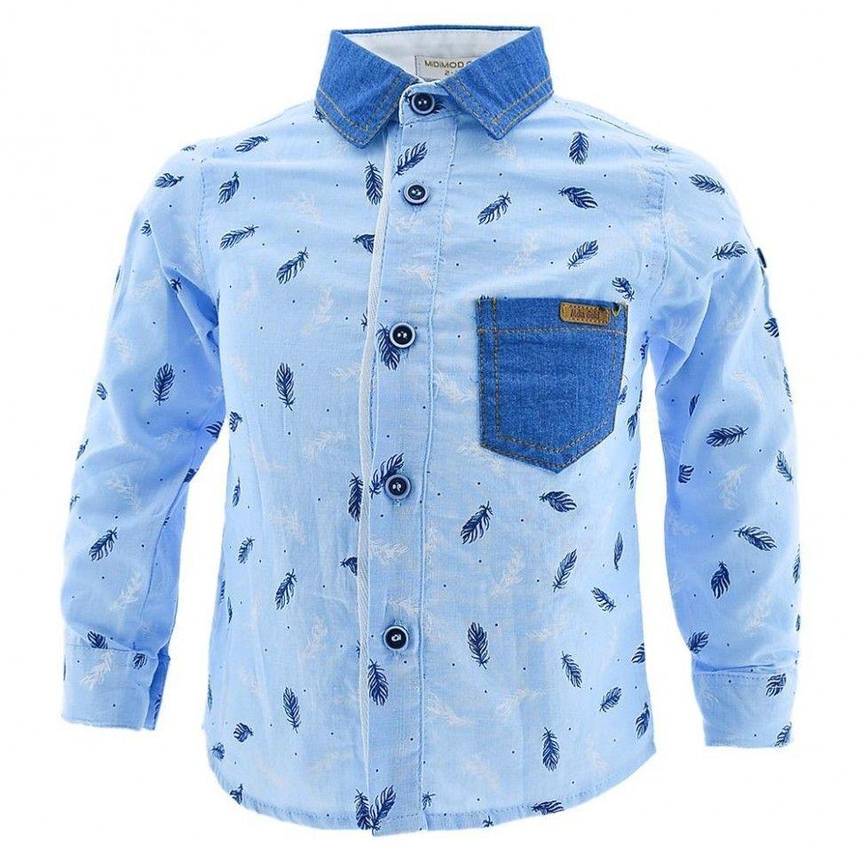 Рубашка с длинным рукавом и принтом для мальчика 2-5 (голубой)