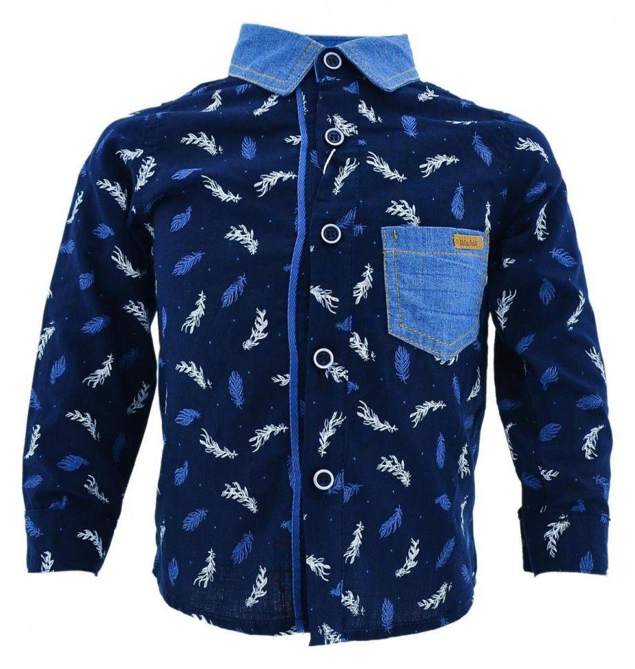 Рубашка с длинным рукавом и принтом для мальчика 2-5 (синий)