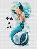 """Схема для вышивания крестиком """"Music Is My Life""""."""
