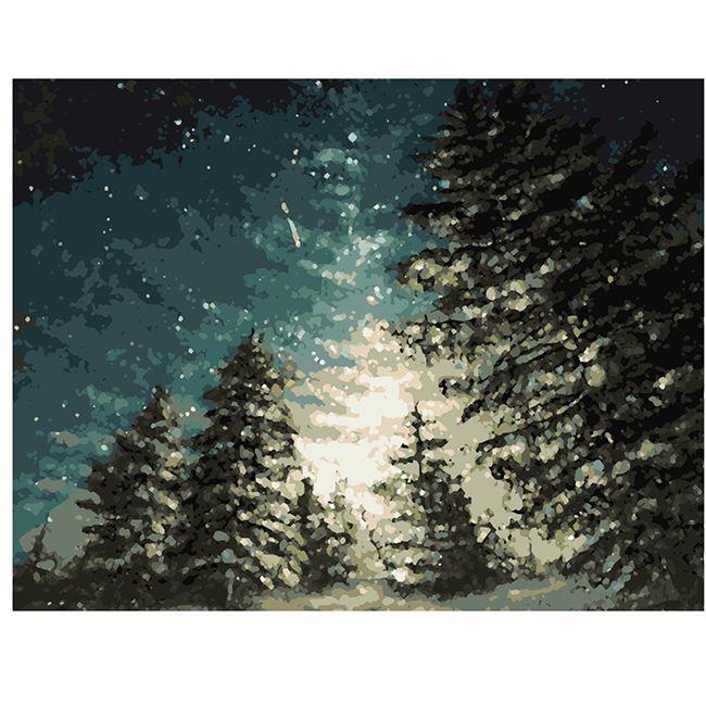 Роспись по холсту Зимний лес 40х50см