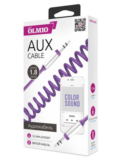 Аудиокабель AUX 3.5мм(m)-3.5мм(m), длина 1.8м, витой провод, металлический штекер, фиолетовый, OLMIO