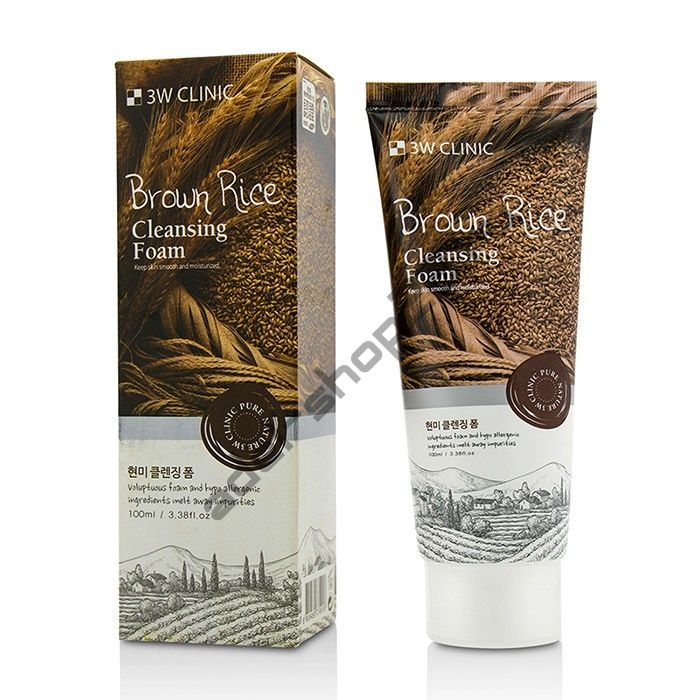 3W Clinic - Пенка для умывания с экстрактом коричневого риса Brown Rice Foam Cleansing