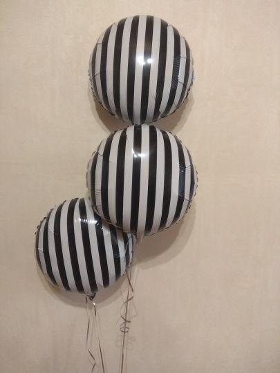 Черно-белый круг в полоску шар фольгированный с гелием
