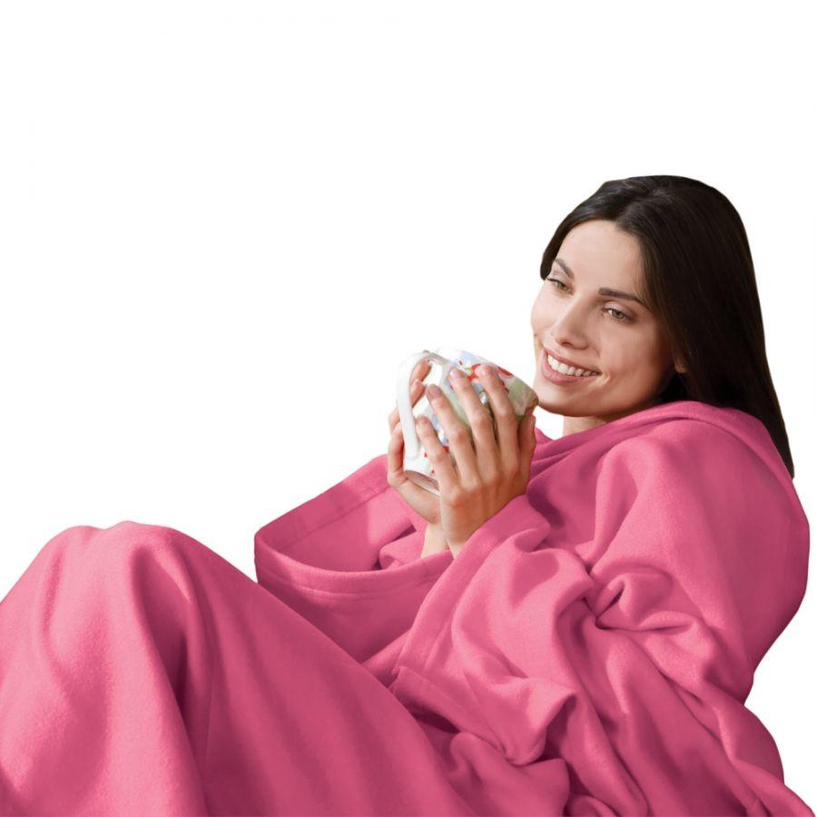 Одеяло-плед с рукавами Snuggie (розовый)