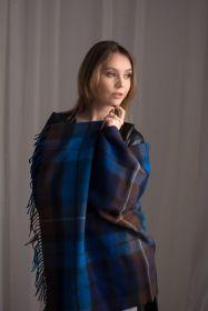 Теплая шаль  100 % стопроцентная шотландская овечья шерсть, (тартан) клана Бьюкенен ( Синий Вариант) BUCHANAN BLUE , плотность 6