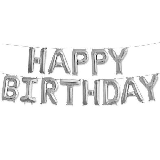 Надпись HAPPY BIRTHDAY набор фольгированных шаров-букв серебро 40 см