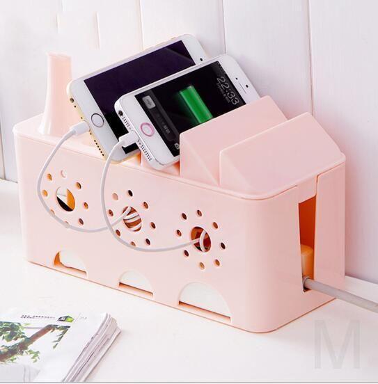 Многофункциональный органайзер для удлинителя WIRE BOX (розовый)