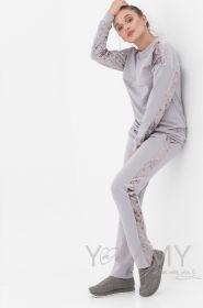 Костюм серый футер/ велюр свитшот + брюки