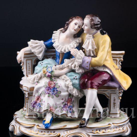 Изображение Пара на скамейке, кружевная, Volkstedt, Германия, вт.пол.20 в.