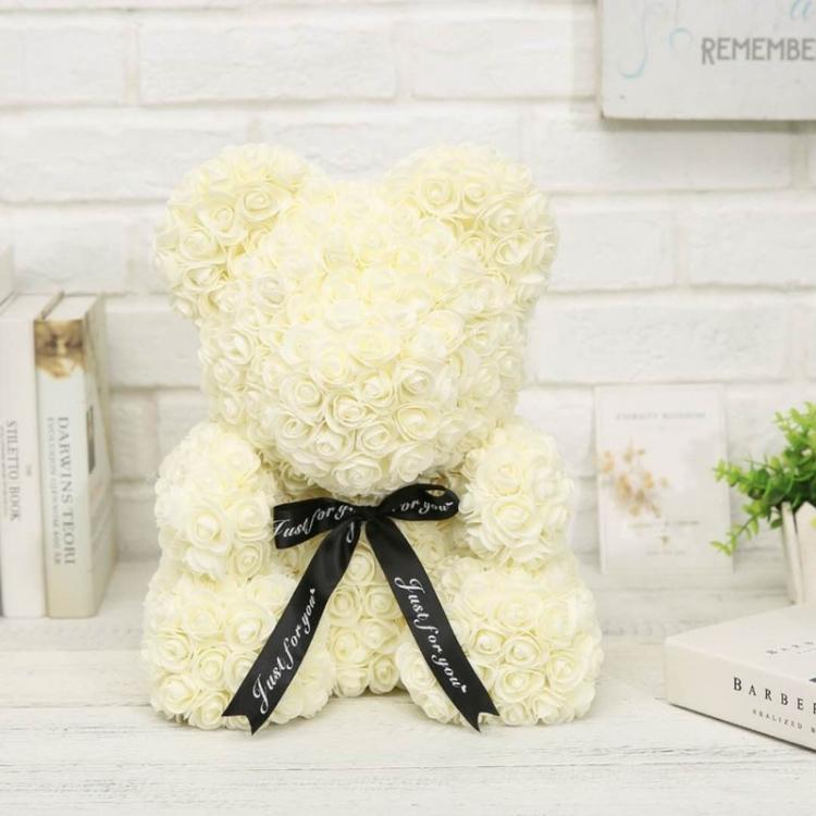 Мишка из роз, 40 см (белый)