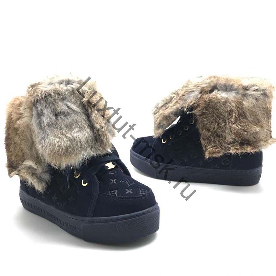 775c2792 Кеды женские кожаные зимние с мехом ботинки Louis Vuiiton (Луи ...