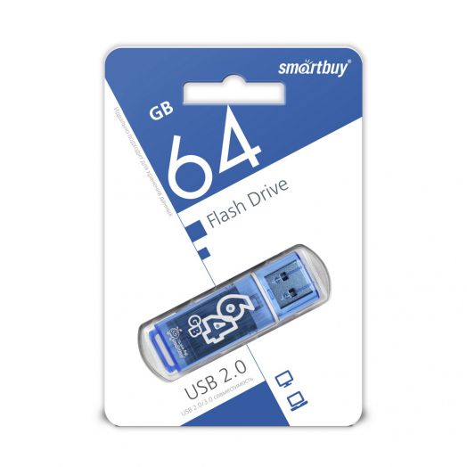 USB накопитель Smartbuy 64GB Glossy series Blue